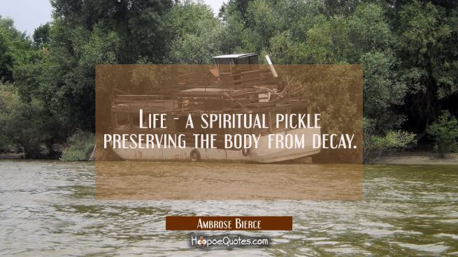 Life - a spiritual pickle preserving the body from decay.