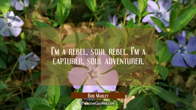 I'm a rebel, soul rebel. I'm a capturer, soul adventurer.