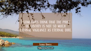 I sometimes think that the price of liberty is not so much eternal vigilance as eternal dirt.