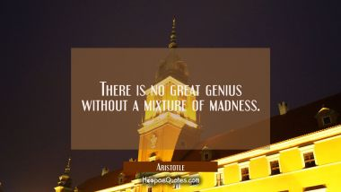 There is no great genius without a mixture of madness. Aristotle Quotes