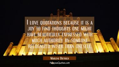 I love quotations because it is a joy to find thoughts one might have beautifully expressed with mu