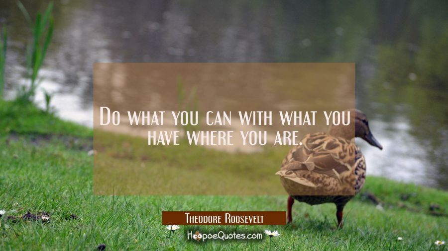 Quote of the Day - Do what you can with what you have where you are. - Theodore Roosevelt