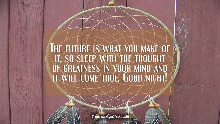 The future is what you make of it, so sleep with the thought of greatness in your mind and it will come true. Good night! Good Night Quotes