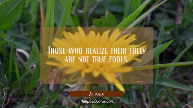 Those who realize their folly are not true fools.