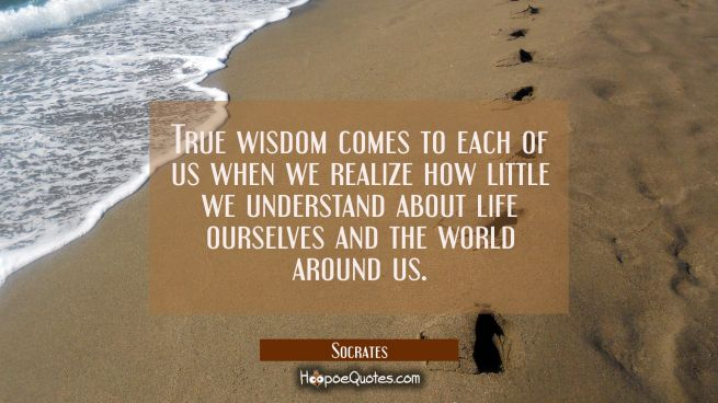 True wisdom comes to each of us when we realize how little we understand about life ourselves and t