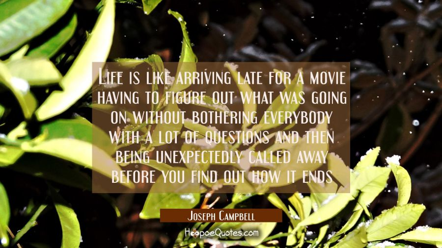Life is like arriving late for a movie having to figure out what was going on without bothering eve Joseph Campbell Quotes