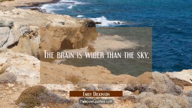 The brain is wider than the sky.