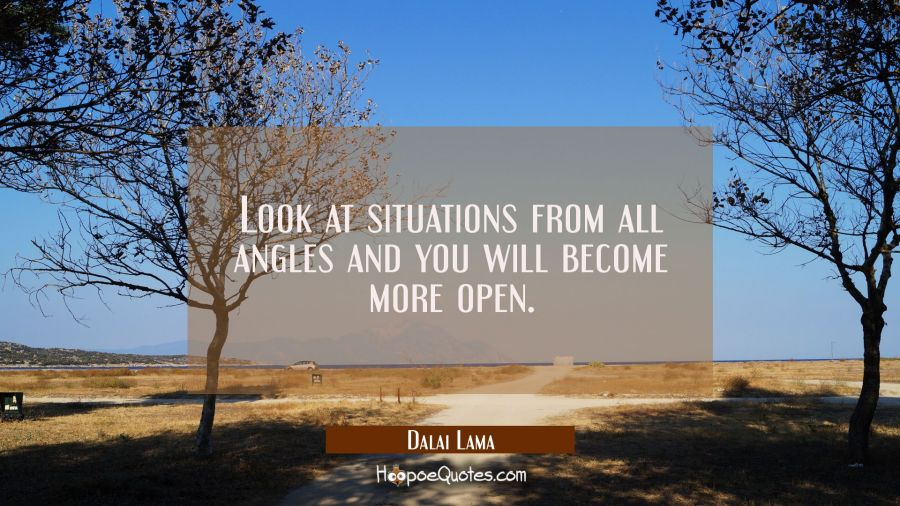 Look at situations from all angles and you will become more open. Dalai Lama Quotes