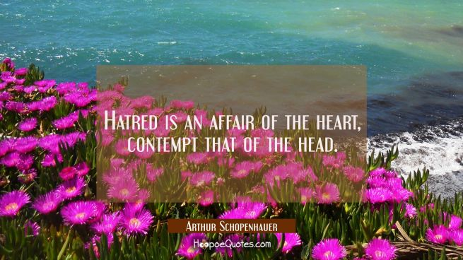 Hatred is an affair of the heart, contempt that of the head.