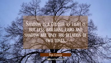Shadow is a colour as light is but less brilliant, light and shadow are only the relation of two to