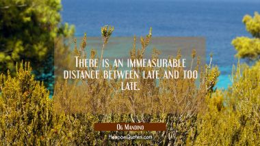 There is an immeasurable distance between late and too late.
