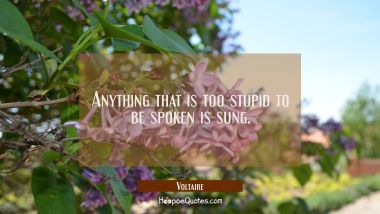 Anything that is too stupid to be spoken is sung. Voltaire Quotes