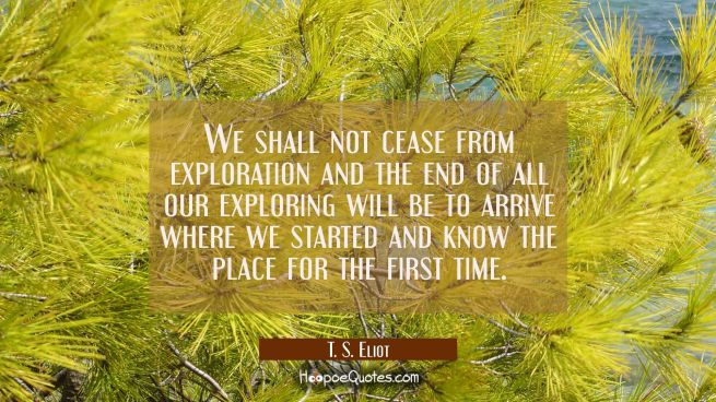 We shall not cease from exploration and the end of all our exploring will be to arrive where we sta