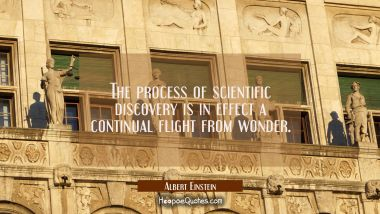 The process of scientific discovery is in effect a continual flight from wonder.