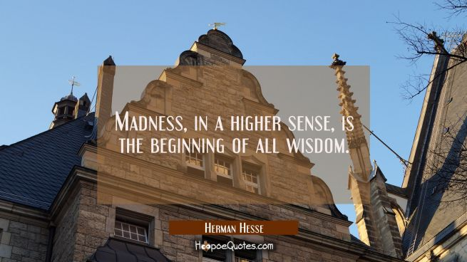 Madness, in a higher sense, is the beginning of all wisdom.