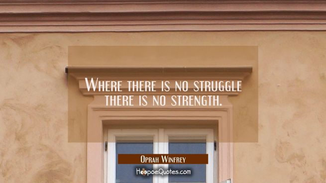 Where there is no struggle there is no strength.