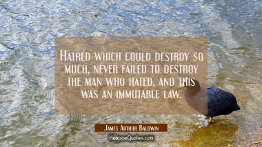 Hatred which could destroy so much never failed to destroy the man who hated and this was an immuta James Arthur Baldwin Quotes