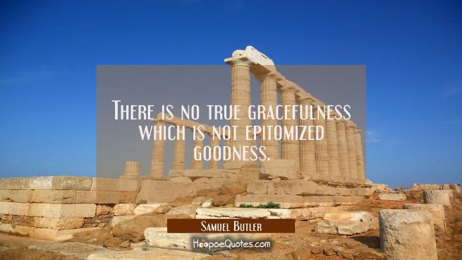 There is no true gracefulness which is not epitomized goodness.