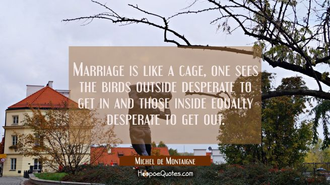 Marriage is like a cage, one sees the birds outside desperate to get in and those inside equally de