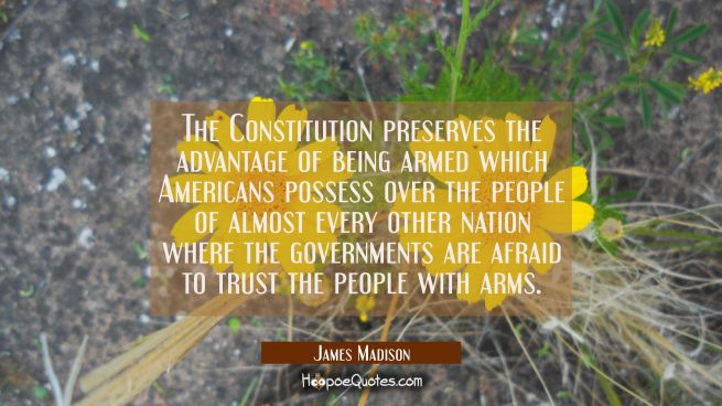 The Constitution preserves the advantage of being armed which Americans possess over the people of