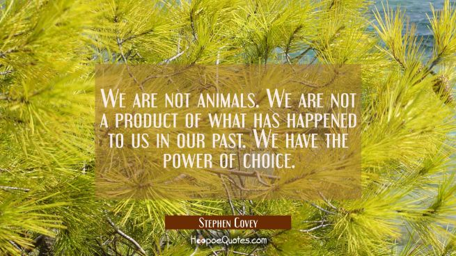 We are not animals. We are not a product of what has happened to us in our past. We have the power