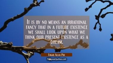 It is by no means an irrational fancy that in a future existence we shall look upon what we think o