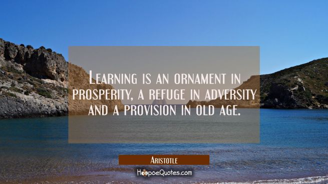 Learning is an ornament in prosperity a refuge in adversity and a provision in old age.