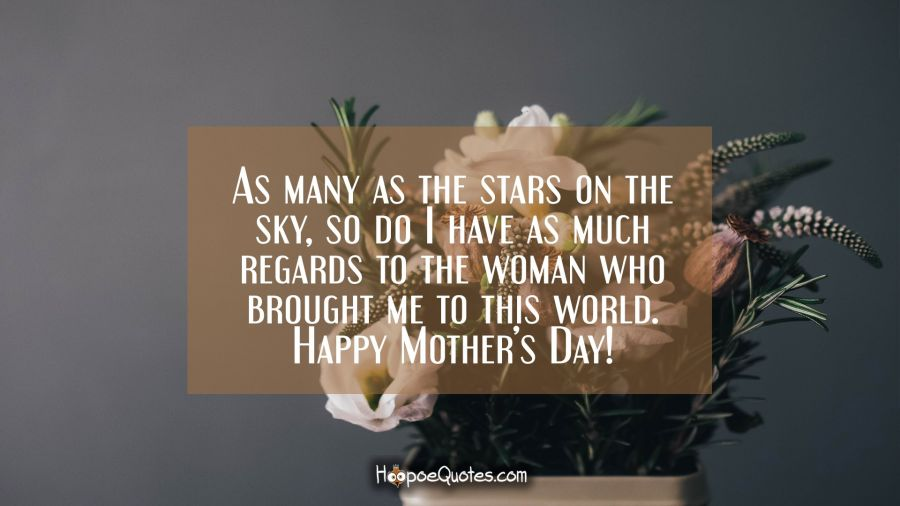 As many as the stars on the sky, so do I have as much regards to the woman who brought me to this world. Happy Mother's Day! Mother's Day Quotes
