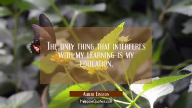 The only thing that interferes with my learning is my education. Albert Einstein Quotes