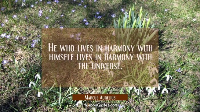 He who lives in harmony with himself lives in harmony with the universe.