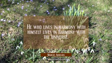 He who lives in harmony with himself lives in harmony with the universe. Marcus Aurelius Quotes