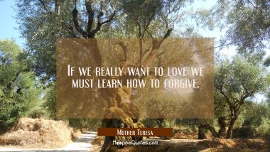 If we really want to love we must learn how to forgive. Mother Teresa Quotes