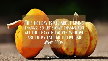 This holiday is all about giving thanks so let's give thanks for all the crazy relatives who we are lucky enough to live far away from. Thanksgiving Quotes