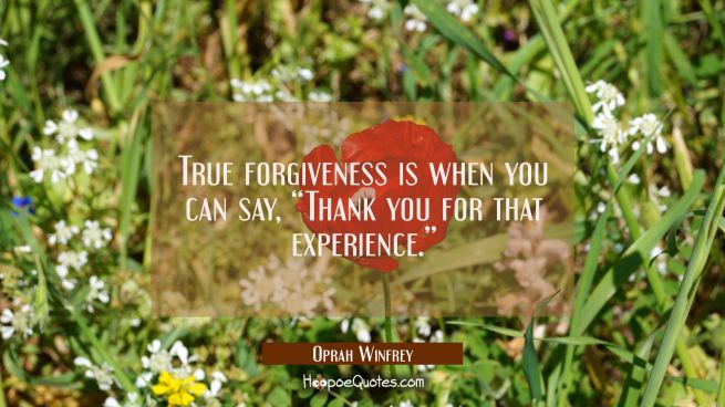 "True forgiveness is when you can say, ""Thank you for that experience."""
