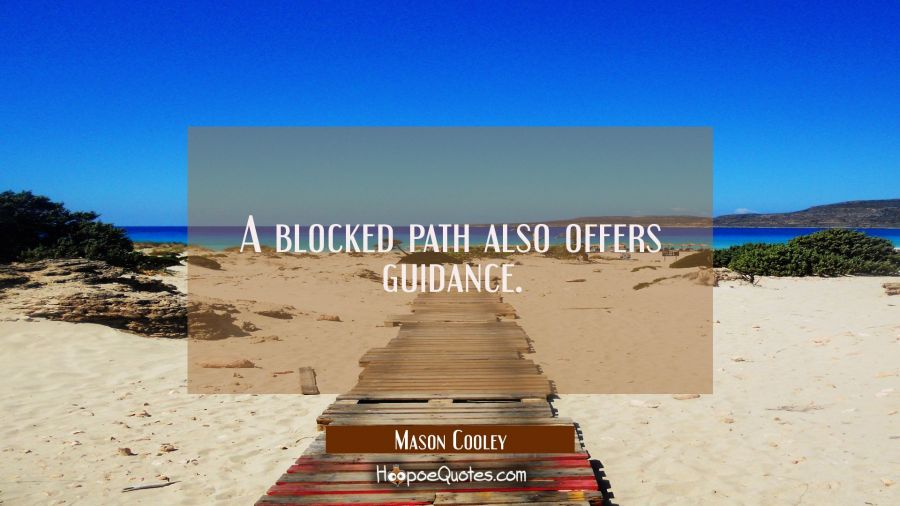 A blocked path also offers guidance. Mason Cooley Quotes