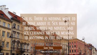 Sex is. There is nothing more to be done about it. Sex builds no roads writes no novels and sex cer Gore Vidal Quotes