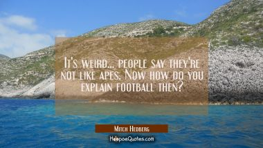 It's weird... people say they're not like apes. Now how do you explain football then?