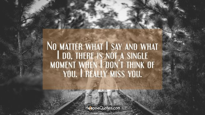 No matter what I say and what I do, there is not a single moment when I don't think of you. I really miss you.