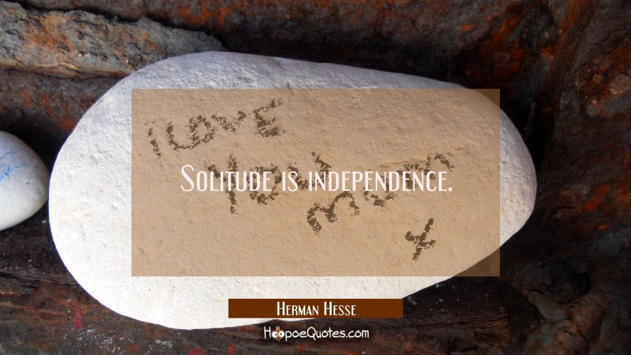 Solitude is independence. Herman Hesse Quotes