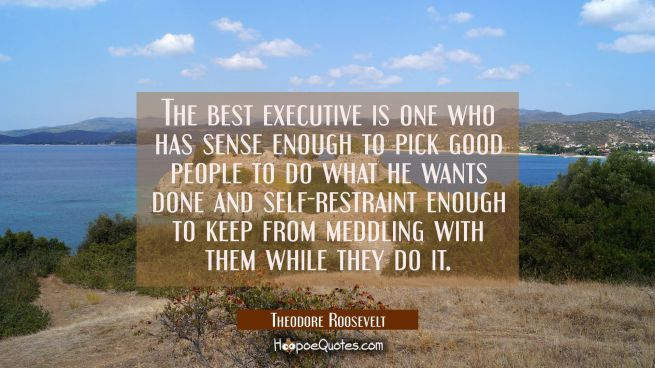 The best executive is one who has sense enough to pick good people to do what he wants done and sel