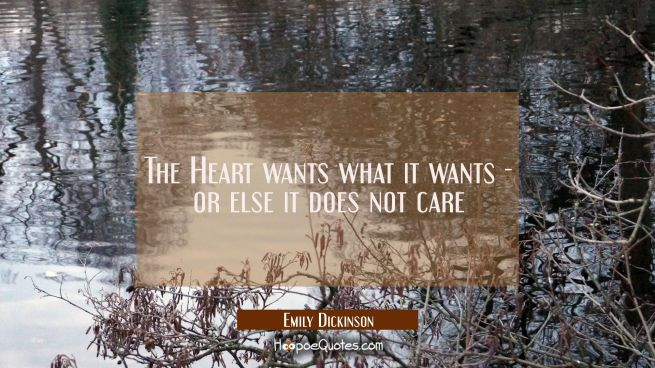 The Heart wants what it wants - or else it does not care.