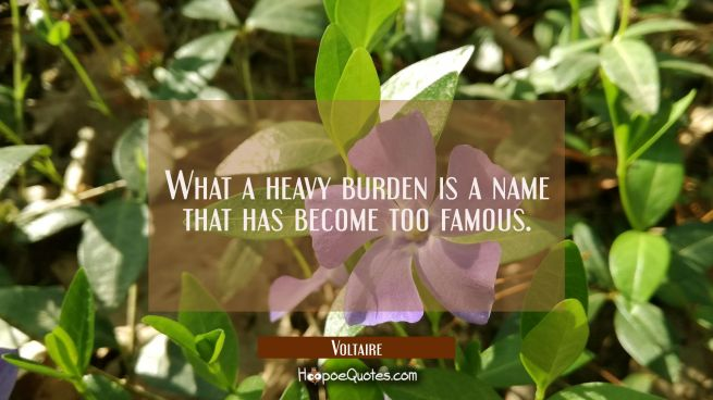 What a heavy burden is a name that has become too famous.
