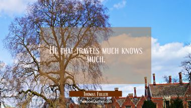 He that travels much knows much.