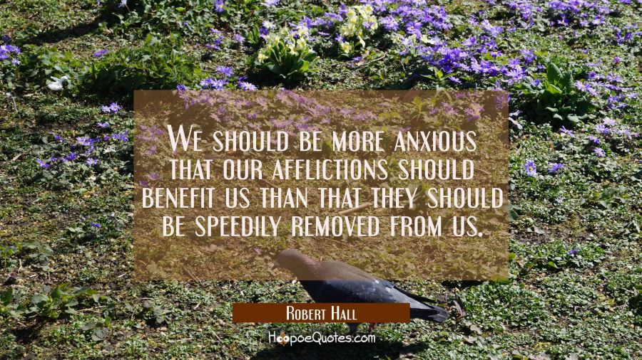 We should be more anxious that our afflictions should benefit us than that they should be speedily Robert Hall Quotes
