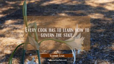 Every cook has to learn how to govern the state.