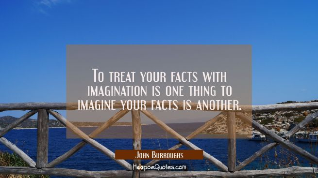 To treat your facts with imagination is one thing to imagine your facts is another.