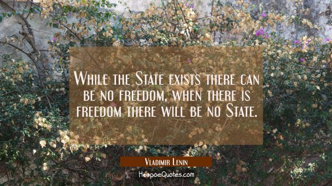 While the State exists there can be no freedom, when there is freedom there will be no State.