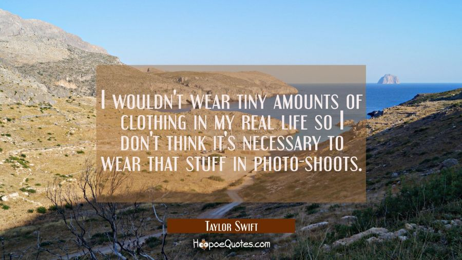 I wouldn't wear tiny amounts of clothing in my real life so I don't think it's necessary to wear th Taylor Swift Quotes