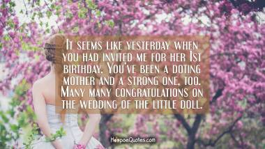 It seems like yesterday when you had invited me for her 1st birthday. You've been a doting mother and a strong one, too. Many many congratulations on the wedding of the little doll. Wedding Quotes