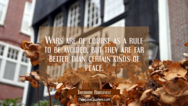 Wars are of course as a rule to be avoided, but they are far better than certain kinds of peace.